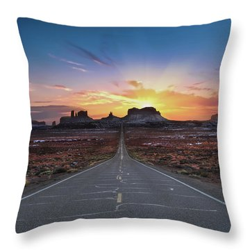 The Long Road To Monument Valley Throw Pillow