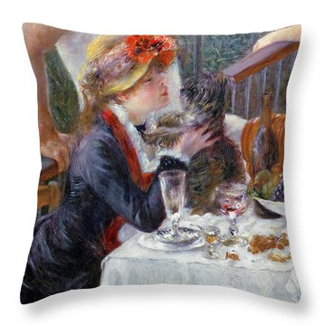 The Luncheon Of The Boating Party Throw Pillow by Pierre Auguste Renoir