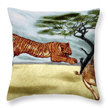 The Lunge Throw Pillow by Peter Piatt