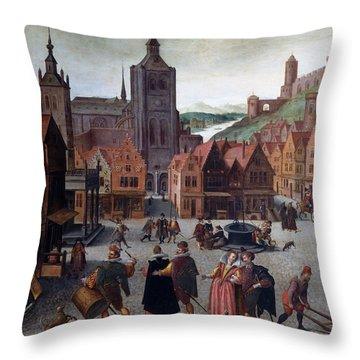 The Marketplace In Bergen Op Zoom Throw Pillow
