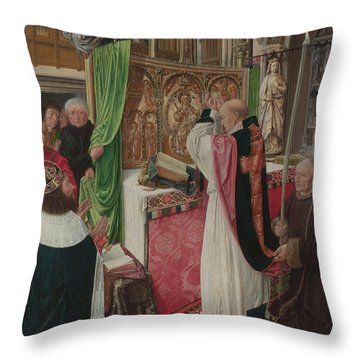 The Mass Of Saint Giles Throw Pillow by Master of Saint Giles