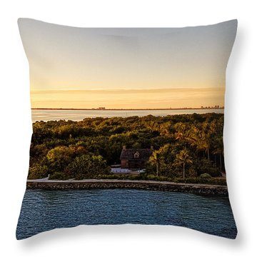 Throw Pillow featuring the photograph The Miami Lighthouse by Lars Lentz