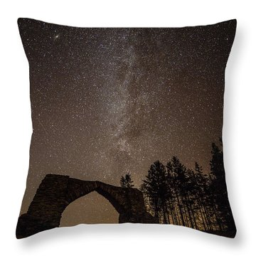 The Milky Way Over The Hafod Arch, Ceredigion Wales Uk Throw Pillow