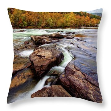 The New River At Sandstone Falls Throw Pillow