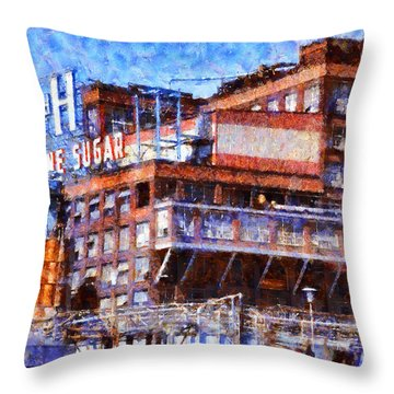 The Old C And H Pure Cane Sugar Plant In Crockett California . 5d16769 Throw Pillow