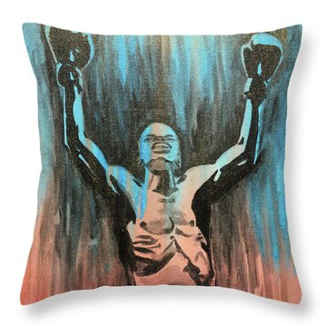 Throw Pillow featuring the painting The Overcomer by Nathan Rhoads