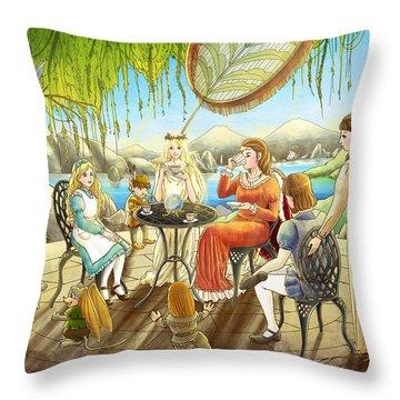 The Palace Garden Tea Party Throw Pillow