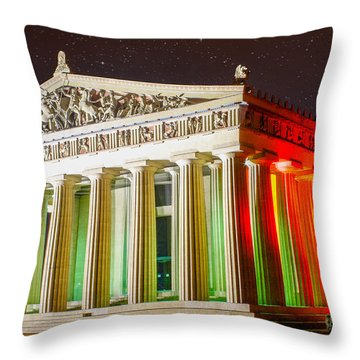 The  Parthenon Under The Stars Throw Pillow by Robert Hebert