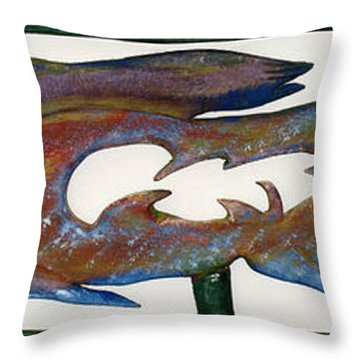 Throw Pillow featuring the mixed media The Prozak Fish by Robert Margetts