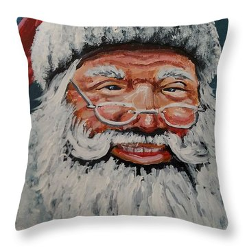 Throw Pillow featuring the painting The Real Santa by James Guentner