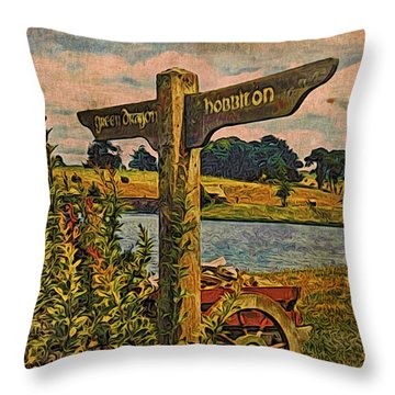 Throw Pillow featuring the digital art The Road To Hobbiton by Kathy Kelly