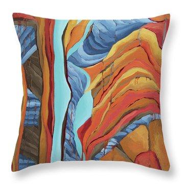 Throw Pillow featuring the painting The Rocks Cried Out, Zion by Erin Fickert-Rowland