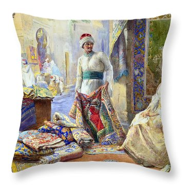 The Rug Merchant Throw Pillow by Munir Alawi