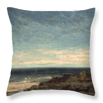 The Sea Throw Pillow by Gustave Courbet