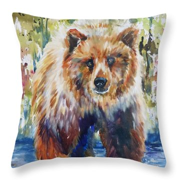 The Summer Bear Throw Pillow