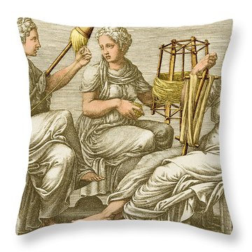 The Three Fates Throw Pillow by Photo Researchers