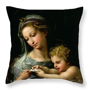 The Virgin Of The Rose Throw Pillow by Raphael