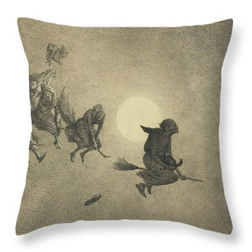 The Witches' Ride Throw Pillow