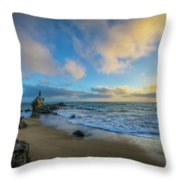 Throw Pillow featuring the photograph The Woman And Sea by Sean Foster