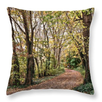 The Woods In Autumn Throw Pillow by Mikki Cucuzzo