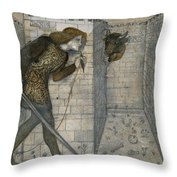 Theseus And The Minotaur In The Labyrinth Throw Pillow by Edward Burne-Jones