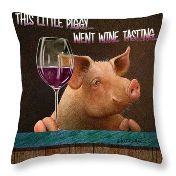 This Little Piggy Went Wine Tasting... Throw Pillow
