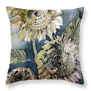 Three Sunflowers Throw Pillow by Mindy Newman