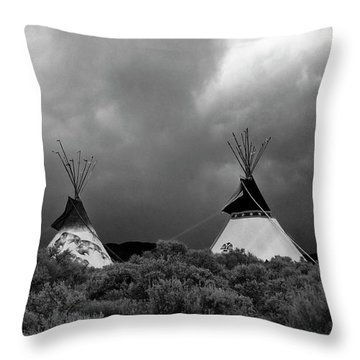 Three Teepee's Throw Pillow by Carolyn Dalessandro