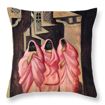 Three Women On The Street Of Baghdad Throw Pillow