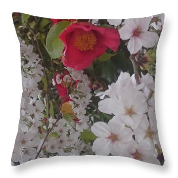 Thubaki Means Camellia Throw Pillow