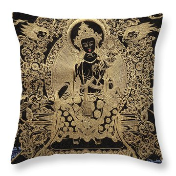 Tibetan Thangka  - Maitreya Buddha Throw Pillow