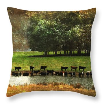 Till The Cows Come Home Throw Pillow by Olivia Hardwicke
