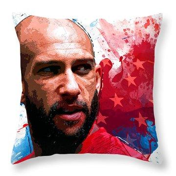 Tim Howard Throw Pillow by Semih Yurdabak