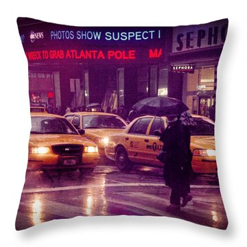Throw Pillow featuring the photograph Times Square In The Rain by Ray Devlin
