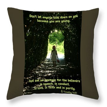Throw Pillow featuring the photograph 1 Timothy 4 12 by Emanuel Tanjala