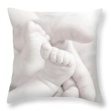 Tiny Feet Throw Pillow by Sebastian Musial