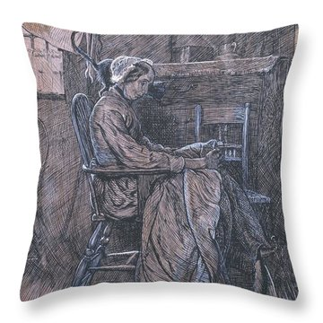 Title Old Woman Seated In A Chair Throw Pillow