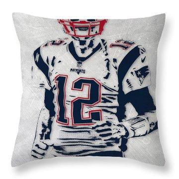 Tom Brady New England Patriots Pixel Art 5 Throw Pillow