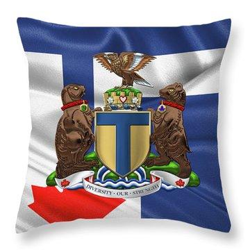 Toronto - Coat Of Arms Over City Of Toronto Flag  Throw Pillow