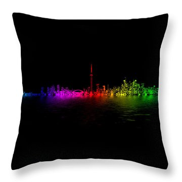 Throw Pillow featuring the photograph Toronto Rainbow Reflection by Brian Carson