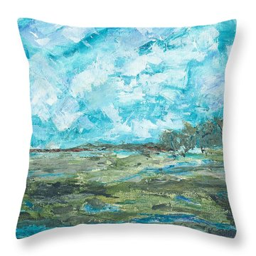 Throw Pillow featuring the painting Toward Pinckney Island by Kathryn Riley Parker