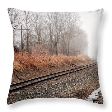 Throw Pillow featuring the photograph Tracks In Morning Fog by Lars Lentz