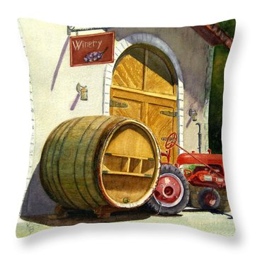 Throw Pillow featuring the painting Tractor Pull by Karen Fleschler
