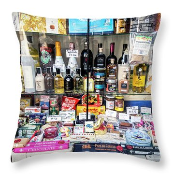 Traditional Spanish Deli Food Shop Display In Santiago De Compos Throw Pillow