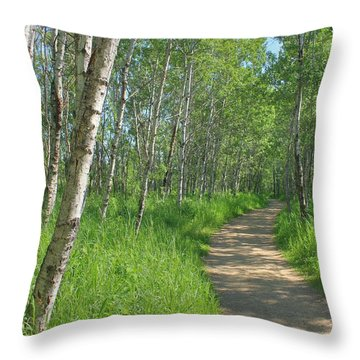 Throw Pillow featuring the photograph Trail Through Aspens by Jim Sauchyn