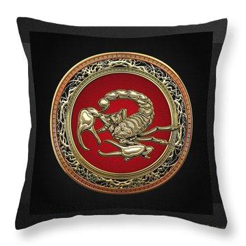 Treasure Trove - Sacred Golden Scorpion On Black Throw Pillow