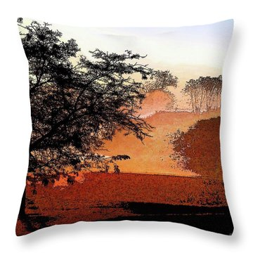 Tree In Morning Light Throw Pillow