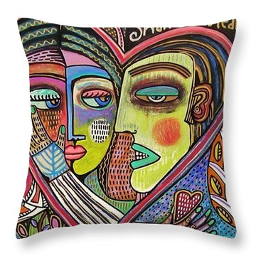 Tree Of Life Heart Lovers Throw Pillow by Sandra Silberzweig