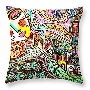 Tree Of Life Village Mermaid Throw Pillow by Sandra Silberzweig