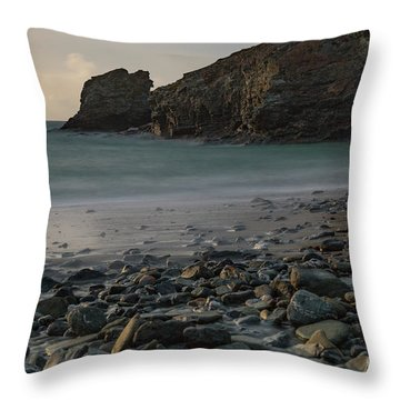 Throw Pillow featuring the photograph Trevellas Cove by Brian Roscorla